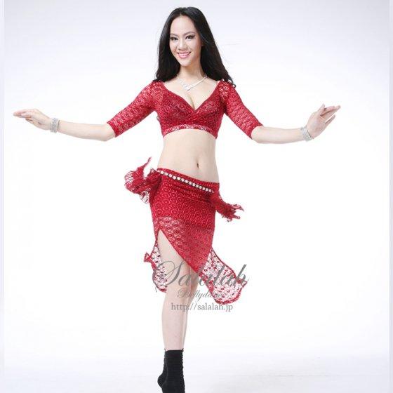ベリーダンス衣装 レッスンウエアレースチョリ&スカート2点セット LW0470 ベリーダンス衣装・コスチューム 【Salalah】