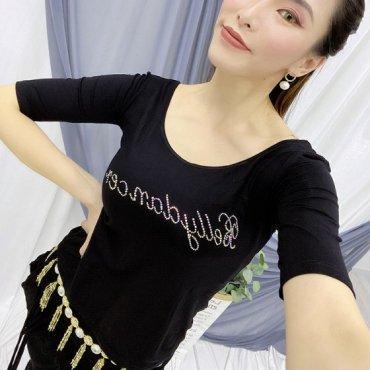 BellydancerラインストーンロゴTシャツ tp0439