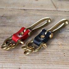 [栃木レザー使用] レザーキーホルダー・真鍮製 釣り針フック 2