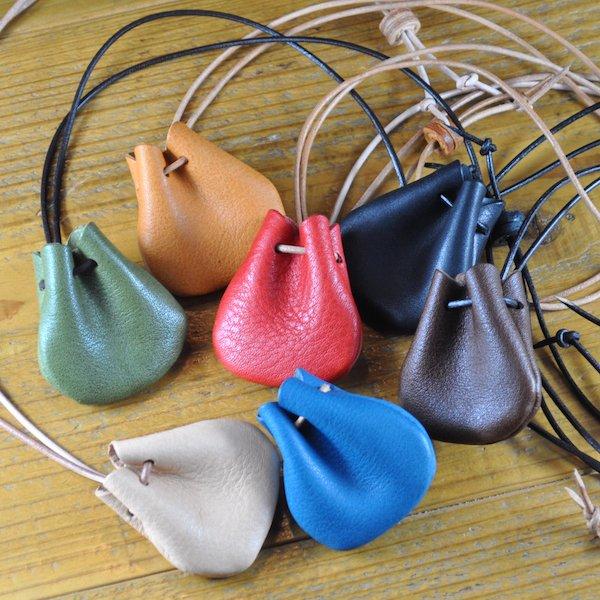 シュリンクレザー巾着袋ネックレス NL02 [栃木レザー使用]