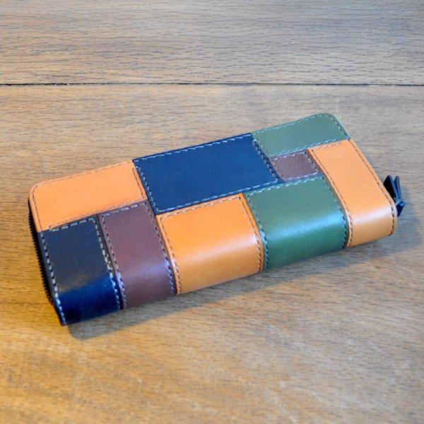 [栃木レザー使用] 長財布 (パッチワーク) ラウンドファスナー 黒緑MIX