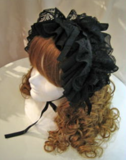 【MARBLE】マーブル バラ付きボリュームヘッドドレス 黒シフォン×黒レース×黒バラ