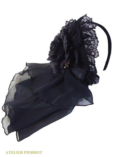 【ATELIER PIERROT】アトリエピエロ Rose headband(black)