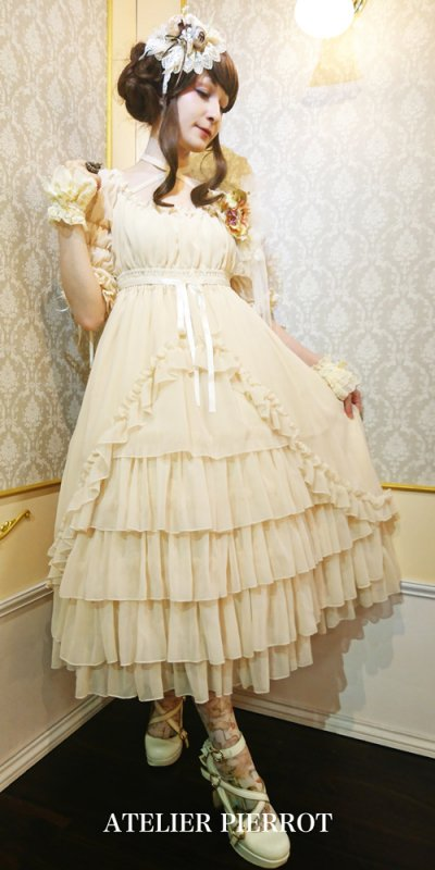 【ATELIER PIERROT】アトリエピエロ シャーリングシフォンロングドレス Ivory