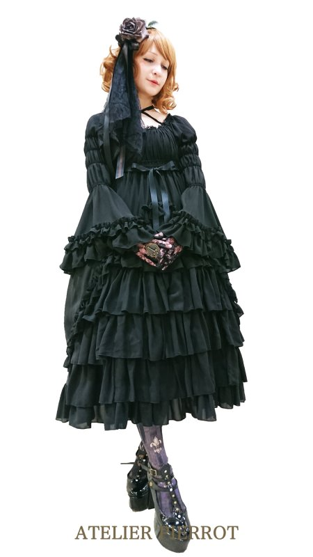 【ATELIER PIERROT】Princess sleeve long dress Black