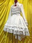 【MARBLE】マーブル 総フリルフェミニンドレスワンピース:白×白フリル×白花柄レース