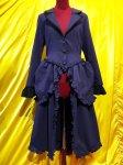 【MARBLE】マーブル ヴィクトリアンロングドレスジャケット:紺×黒シフォン