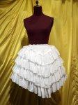 【MARBLE】マーブル レイヤードV字フェミニンスカート:白刺繍柄フリル