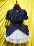 【MARBLE】マーブル カメオモチーフドレープタイ付き造形美ブラウス:紺×青カメオ