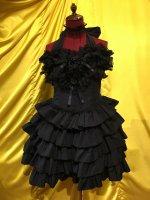 【MARBLE】マーブル サテンバラ付きレース飾りティアードサンドレス:黒×黒レース×黒サテンバラ