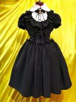 【MARBLE】マーブル ブラウス付き風編み上げロマンティックワンピース:黒×ブラウンカメオ×アンティーク調ブラウン石