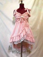 【MARBLE】マーブル ベビードール型プリンセスドレス:ピンクチェック×白レース