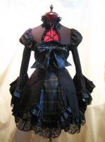 【MARBLE】マーブル 配色切り替えブリティッシュワンピース:黒×青チェック