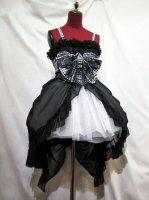 【MARBLE】マーブル バッスルリボン付きロマンティックワンピース+レース重ね後長レイヤードスカート:黒白ギンガムチェック(黒×黒レーススカート)