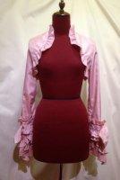 【MARBLE】マーブル リボンアクセサリー付きロマンティックボレロ:ピンクシャンタン×ピンク白刺繍ストライプフリル