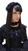 【ATELIER-PIERROT】アトリエピエロ ローズフリルヘッドドレス(ブラック)