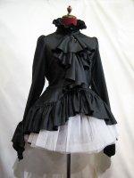 【MARBLE】マーブル 黒しずく付きボリュームタイブラウス:黒ブラウス