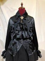 【MARBLE】マーブル ヴァンパイアタイ付きビショップスリーブブラウス:黒 Lサイズ