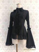 【ATELIER PIERROT】アトリエピエロ スタンドカラー姫袖ブラウス(フリル) Black