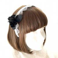 【Morun×Muuna Stoik】モランムーナストイック ミニ薔薇カチューシャ(白黒)