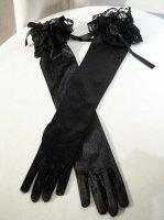 【MARBLE】マーブル バラつきロンググローブ:黒サテン