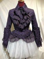 【MARBLE】マーブル 十字架タイ付き総フリルドレスブラウス:紫ジョーゼット