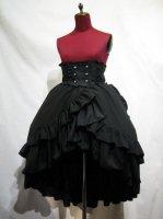【MARBLE】マーブル バッスルリボン付きコルセット風巻きスカート:黒