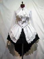 【MARBLE】マーブル ゴシック調ドレープフリルタイ付きワンピース型ブラウス+前短・後長V字フリル重ねロングスカート:白×黒