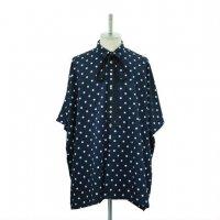 【MiDiom】ミディオム Dot Square Shirt Navy