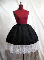 【MARBLE】マーブル チュール付きレースインナースカート:黒×白レース