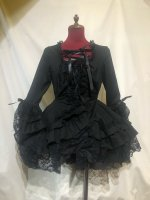【MARBLE】マーブル  編み上げ総フリルドレスワンピース:黒×黒レース
