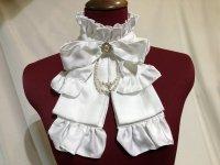 【MARBLE】マーブル リボンブローチ付きパール連タイ:白光沢×白2連パール×オフ白パールブローチ