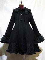 【MARBLE】マーブル レース飾りロマンティックコート:黒×黒レース