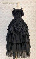 【ATELIER PIERROT】アトリエピエロ ロングバッスル編み上げジャンパースカート Black    ゴスロリ ロング ドレス