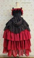 ★ラスト1点★【ATELIER PIERROT】アトリエピエロ ロングバッスル編み上げジャンパースカート Black×Wine    ゴスロリ ロング ドレス