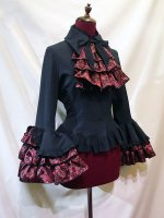 【MARBLE】マーブル リバーシブルタイ付き姫袖ブラウス:黒赤ゴシック柄