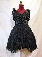 【MARBLE】マーブル バラアクセサリー付きギャザーリボンドレス+パニエ:黒花柄レースワンピース×黒パ二エ