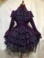 【MARBLE】マーブル ブラウス&スカートセットアップ風全身コーディネートワンピース:紫×紫刺繍フリル