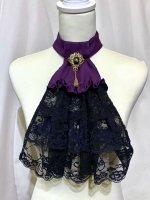 【MARBLE】マーブル  アンティークブローチ付きゴシック調レースタイ:紫