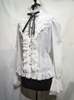 【MARBLE】マーブル クラシカルゴシック調立ち襟カメオブラウス:白