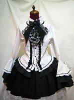 【MARBLE】マーブル デコラティブネクタイ付き配色切り替え姫袖ブラウス:白
