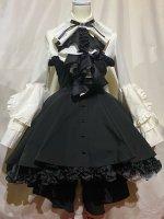 【MARBLE】マーブル ドレープタイ付きゴシックエレガンスブラウスワンピース:白×黒