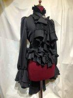 【MARBLE】マーブル アンティークカメオタイ付きボリュームフリルワンピース型ブラウス:黒