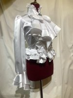 【MARBLE】マーブル ◆受注商品◆アンティークカメオタイ付きボリュームフリルワンピース型ブラウス:白×白レース地
