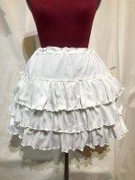 【MARBLE】マーブル サイドリボン付き切り替えティアードスカート:白ニット