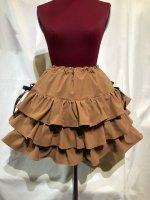 【MARBLE】マーブル サイドリボン付き切り替えティアードスカート:茶