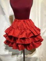 【MARBLE】マーブル サイドリボン付き切り替えティアードスカート:赤
