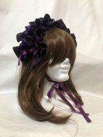 【MARBLE】マーブル フリル重ねボリュームヘッドドレス:紫オパール柄