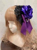 【ATELIER PIERROT】アトリエピエロ 薔薇レースカチューシャ 黒×紫薔薇