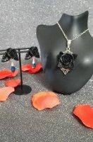 【Alice Garden Rose】クリップ&ブローチ(2個セット) 赤×黒レース